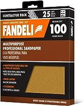 Fandeli 36025 100 hojas de papel de lija multiusos, 9 x 11 pulgadas, 25 hojas