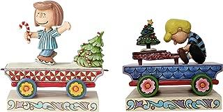 Enesco Peanuts Jim Shore Christmas Train Bundle – Peppermint Patty Train Car and Schroeder Train Car Set of 2