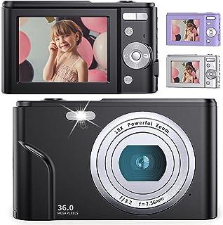 デジタルカメラ 子供用カメラ Anteam 3600万画素 HD1080P録画 16倍デジタルズーム 2.44インチIPS画面 ウェブカメラとして利用 手ぶれ補正/定時自撮り/3連写など 予備バッテリ*2 最大128GBのSDカード対応 日本語...