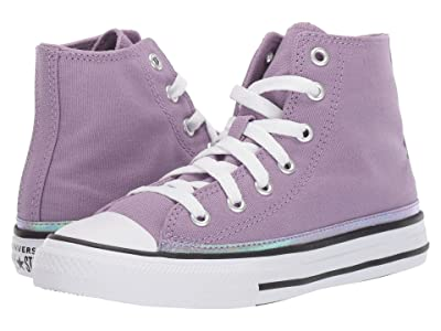 Converse Kids Chuck Taylor(r) All Star(r) Iridescent Hi (Little Kid) (Dusty Lilac/White/Black) Girls Shoes