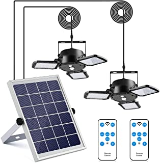Tobeape Solar Pendant Lights Double Head, Waterproof Garage Shed Light with Motion Sensor, 4 Lighting Modes Hanging Solar ...