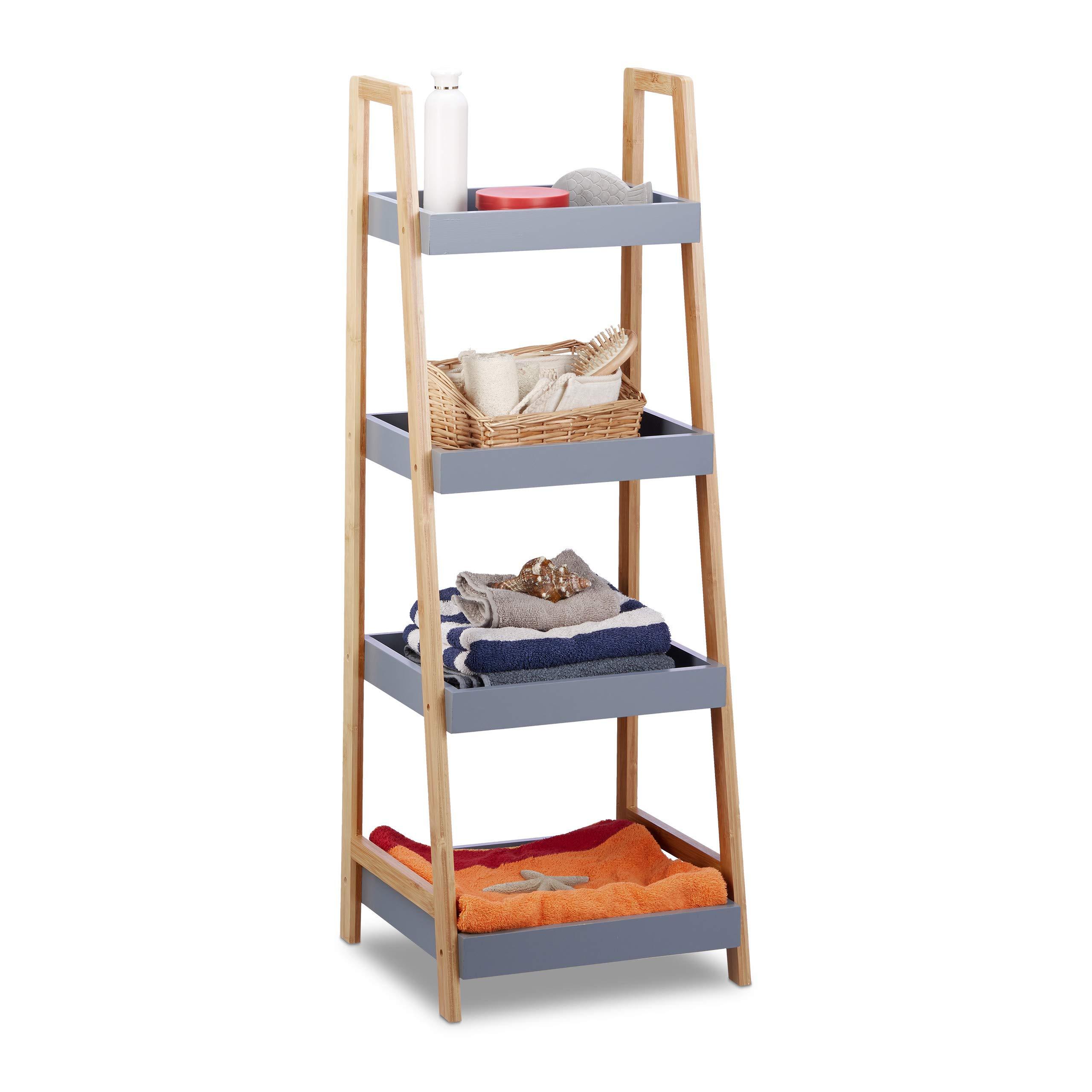Relaxdays estantería de baño, Cuatro estantes, Madera, Organizador de Cocina, Gris, 98 x 36 x 34,5 cm: Amazon.es: Hogar