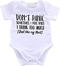 Baby Boys Girls Romper Summer Clothes Kids Jumpsuit Playwear Don't Panic Letter Printed Infant Aunt Onesies Outfits Gift