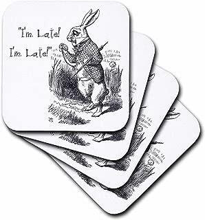 3dRose CST_193791_1 Alice in Wonderland White Rabbit I'm Late John Tenniel Illustration Soft Coasters (Set of 4)