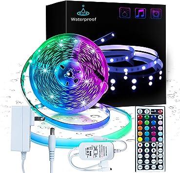 Amazon Com Len 16 4ft Led Light Strips 5050 Rgb Waterproof Led Strip Lights For Bedroom Aesthetic Room Decor Home Decorations Home Improvement