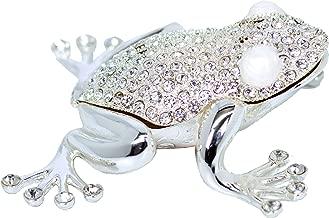 VI N VI Silver Rhinestone Frog Toad Jewelry Trinket Box Gift