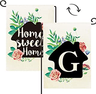 Agantree Art Monogram Letter G Small Garden Flag Waterproof Double Sided Yard Outdoor Decorative 12 x 18 Inch - Home Sweet Home