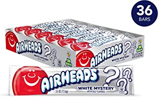 Airheads Candy, Individually Wrapped Full Size Bars for Halloween, White Mystery, Bulk Taffy, Non Melting, Party, 0.55 Ounce (Pack of 36)