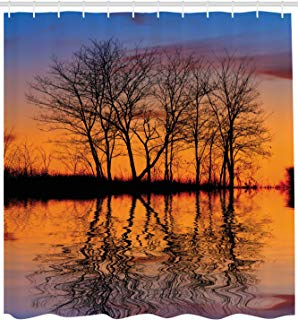 """Ambesonne Nature Shower Curtain, Landscape from Mother Earth Sunset by The Lake with Fall Trees Forest Life Image, Cloth Fabric Bathroom Decor Set with Hooks, 84"""" Extra Long, Burnt Orange"""