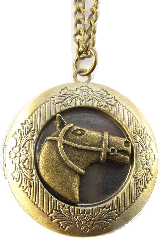 Horse Locket,Brass Locket Necklace, Secret Locket, Antique Locket, Lucky Horse Locket, Equestrian