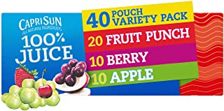 Capri Sun 100% Juice Fruit Punch, Berry & Apple Ready-to-Drink Variety Pack (40 Pouches, 4 Boxes of 10)