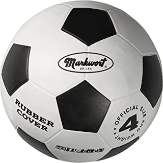 Markwort Jr. Size-4 Soccer Balls,  White/Black