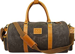 Water-Repellent Waxed Canvas Travel Duffle Barrel Bag With Adjustable Straps | Large Compartment & Side Pockets Weekend Overnight Bag (Green, 20 Inch)