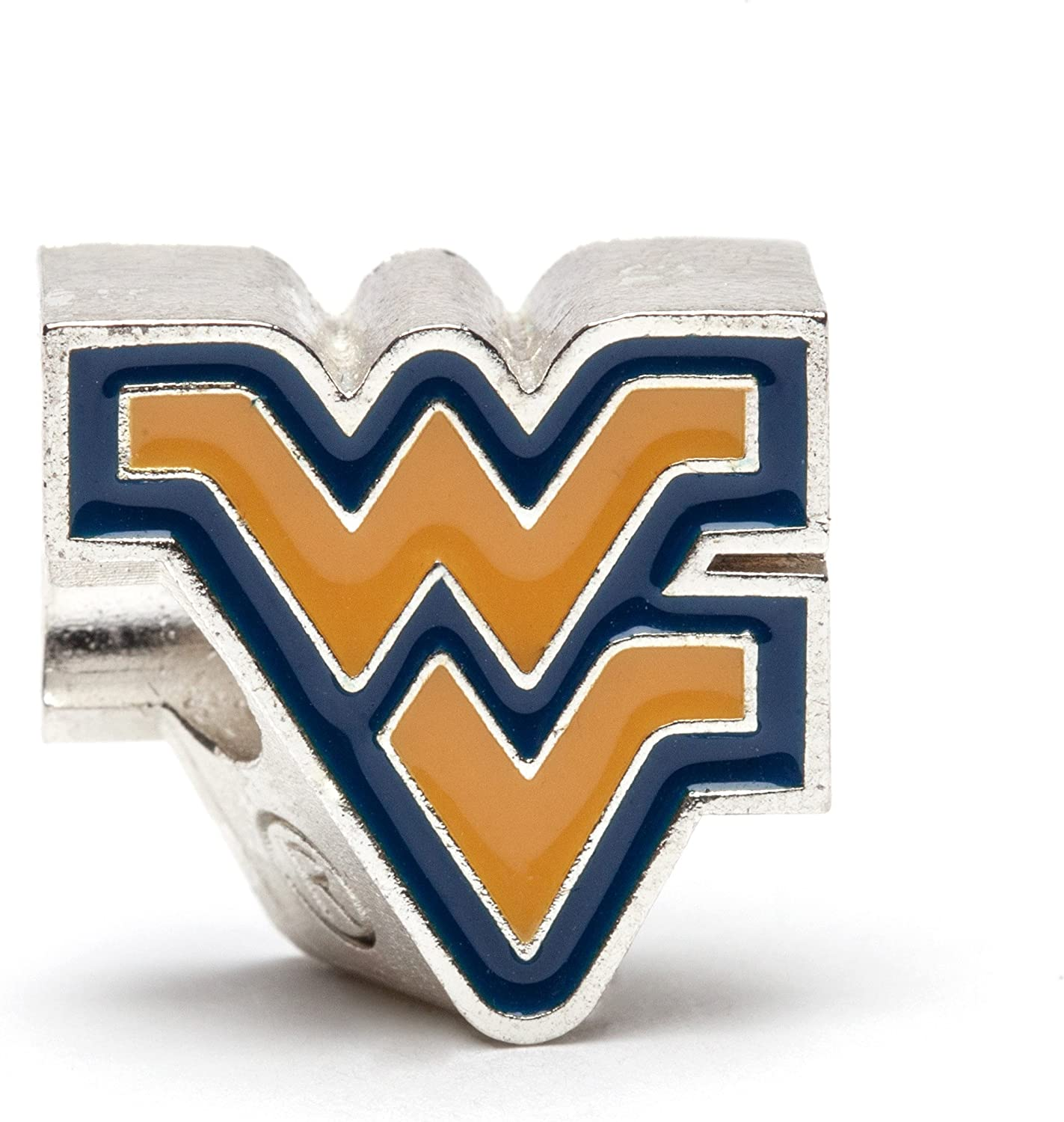 West Virginia University Bead Charm | West Virginia Stainless Steel Jewelry | Mountaineers WV Logo Charm | Fits Most Popular Charm Bracelets | Officially Licensed by WVU