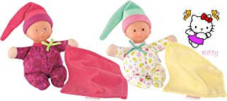 Corolle Miniature Baby Dolls Mini Reve Grenadines Heart and Fresh Riviera; Twin Girls; Caucasian; Blue and Brown Eyes; Holding Blanket; Set Includes Hello Kitty Bonus Sticker; 6 inches