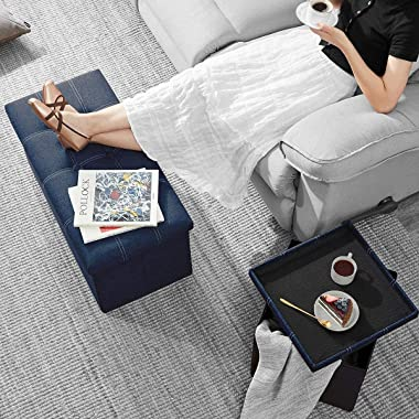 Storage Bench Folding Storage Bench with Foam Upholstered Seat Cushion, Can Hold 330 Pounds, 29.9 Inches Long X 14.9 Inches W