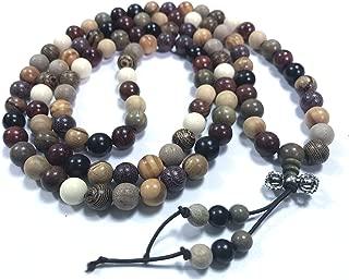 Men Women 108 Wood Bead Necklace Wrist Bracelet Tibetan Buddhist Strand Wood Prayer Beads Buddha Mala Elastic Cuff