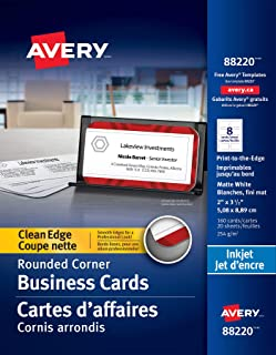 Avery Two-Side Printable Clean Edge Rounded Corner Business Cards for Inkjet Printers, White, Pack of 160 (88220)