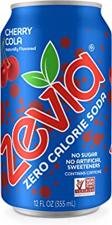 Zevia Zero Calorie Soda, Cherry Cola, Naturally Sweetened Soda, (24) 12 Ounce Cans; Cherry Cola-flavored Carbonated Soda; Refreshing, Full of Flavor and Delicious Natural Sweetness with No Sugar