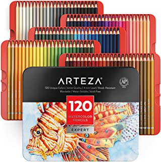 Arteza Professional Watercolor Pencils, Set of 120, Multi Colored Art Drawing Pencils in Bright Assorted Shades, Art Suppl...