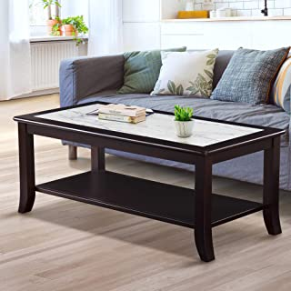 Olee Sleep Classic Calcutta Natural Marble Top Coffee Table Solid Wood Edge, Black & White