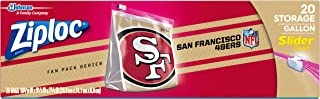 Ziploc Slider Storage Gallon Bag, Great for grab-and-go snacking, tailgating or homegating, 20 Count- NFL San Francisco 49ers
