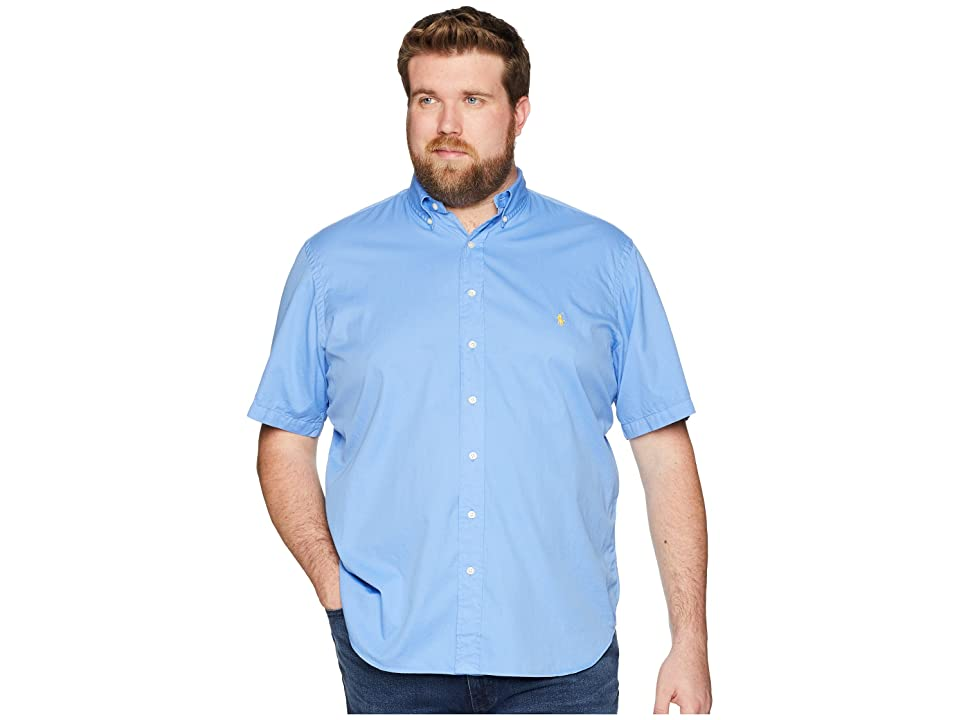 Polo Ralph Lauren Big Tall Garment Dyed Chino Short Sleeve Sport Shirt (Harbor Island Blue) Men