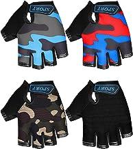4 Pairs Kids Cycling Gloves Half Finger Bike Gloves Non-Slip Mitten Sport Gloves for Boys and Girls (Black, Camouflage, 6-...