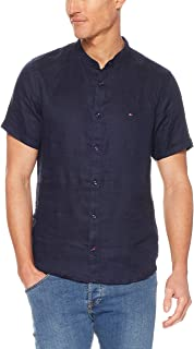 TOMMY HILFIGER Men's Mandarin Collar Short Sleeve Linen Shirt