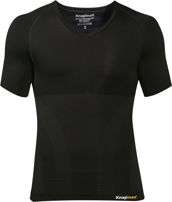 Knapman Ultrathin Kompression Shirt v-Ausschnitt schwarz