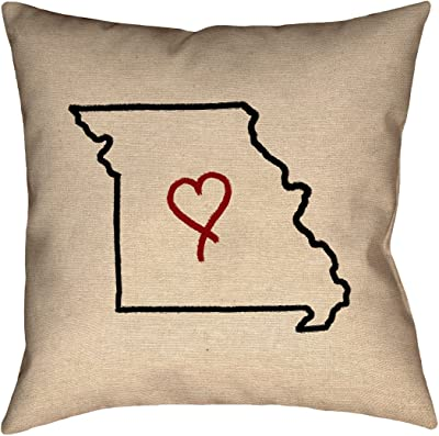 Waterproof and Mildew Proof Wyoming Watercolor Pillow ArtVerse Katelyn Smith 18 x 18 Outdoor Pillows /& Cushions UV Properties