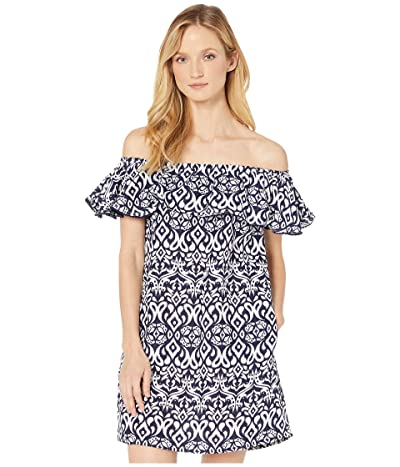 Tommy Bahama Ikat Diamonds Ruffle Dress Cover-Up (Mare Navy) Women