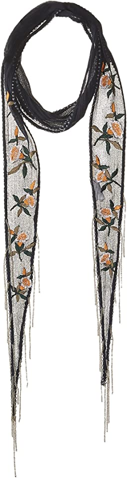 Vintage Floral Embroidered Long Skinny Scarf