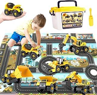 Paochocky 6 en 1 Assembler Camion DIY Véhicules de Construction pour Enfant, avec Tapis de Jeu et Mallette de Transport, J...