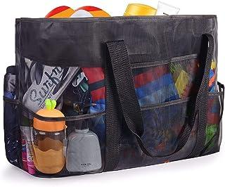 FORMIZON Extra Große Reisetasche Strandtasche Netz-Strandtasche Netztasche für Sandspielzeug Faltbare Handtaschen Sand Spi...