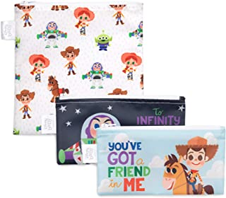 Bumkins Disney Toy Story Sandwich Bags/Snack Bags, Reusable, Washable, Food Safe, BPA Free, Pack of 3