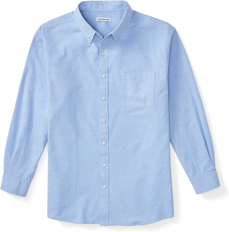 Amazon Essentials Men's Big & Tall Long-Sleeve Pocket Oxford Shirt fit by DXL