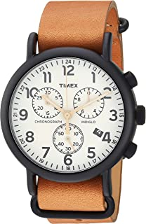 Men's TW2T29300 Weekender Chrono Tan/Black/Cream Two-Piece Leather Strap Watch