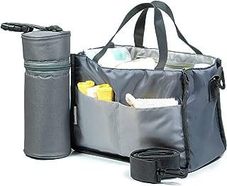 BABYBOO Diaper Bag Insert Organizer for Totes, Handbag, Backpack with Bottle Bag Included | Holds Diapers, Wipes, Bottle, Swaddle Blankets, Baby Toys, Sanitizer, Keys, Smartphone.(Grey)
