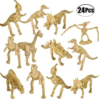 Bedwina Dinosaur Fossil Skeleton (24 Pieces) Assorted Figures Dino Bones, 3.7 Inch - for Science Play, Dino Sand Dig, Party Favor, Decorations and Stocking Stuffer