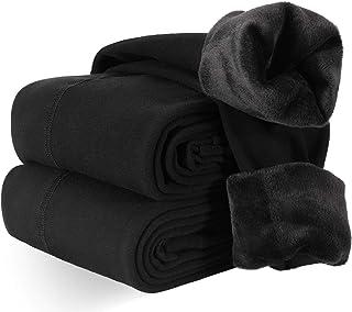 XDDIAS 2 Pares Leggings Térmicas Mujer, Negro Cálidas de Invierno Leggings para Mujer Terciopelo Elástico Mallas Pantalon ...