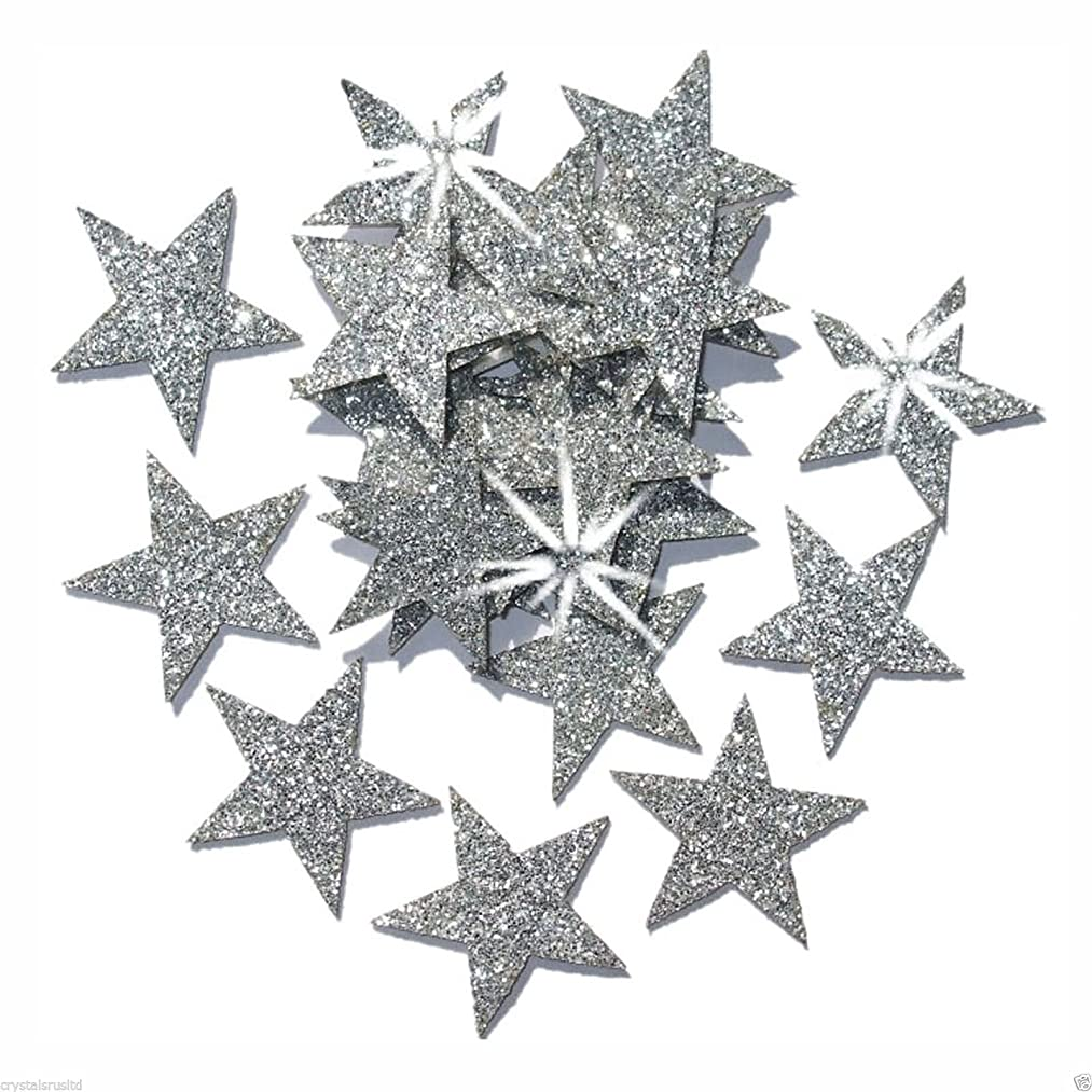 Silver 25mm Self Adhesive Glitter Star Sticker card making craft Diy christmas