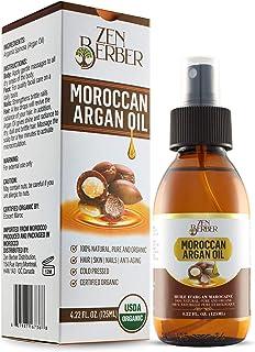 Zen Berber Pure Moroccan Argan Oil for Hair Skin Nails and Beard (4.22 oz. 125 ml)–USDA Certified 100% Organic, Cold Press...
