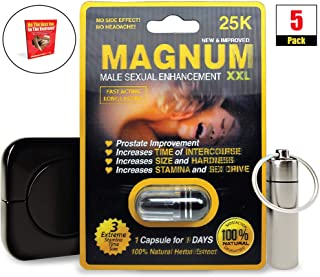 Magnum XXL 25k (5) Pack, Natural Male Performance Booster, Increase Energy & Stamina Bundle w/Keychain, Case, Booklet (8 Items)