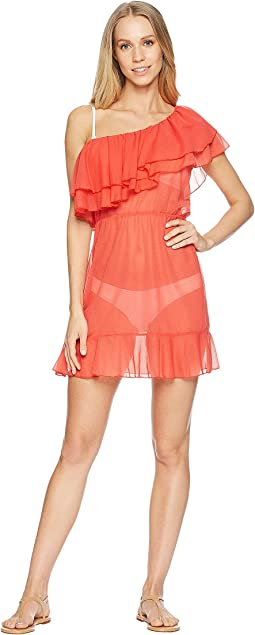 Luli Fama Viva Cuba Cabaret Ruffled One Sleeve Short Dress Cover-Up