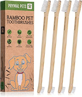 Prymal Pets Bamboo Pet Toothbrush - 4 Count - for Dogs, Cat, Puppy, Animal, Teeth Cleaning Dental Care, Biodegradable Eco-...