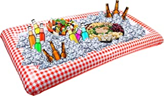 Outdoor Inflatable Buffet Cooler Server – Red and White Blow Up Cooling Tub For Serving Buffet Style Picnic