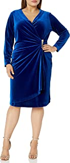 Calvin Klein Women's Plus Size Velvet Long Sleeve Faux Wrap Dress