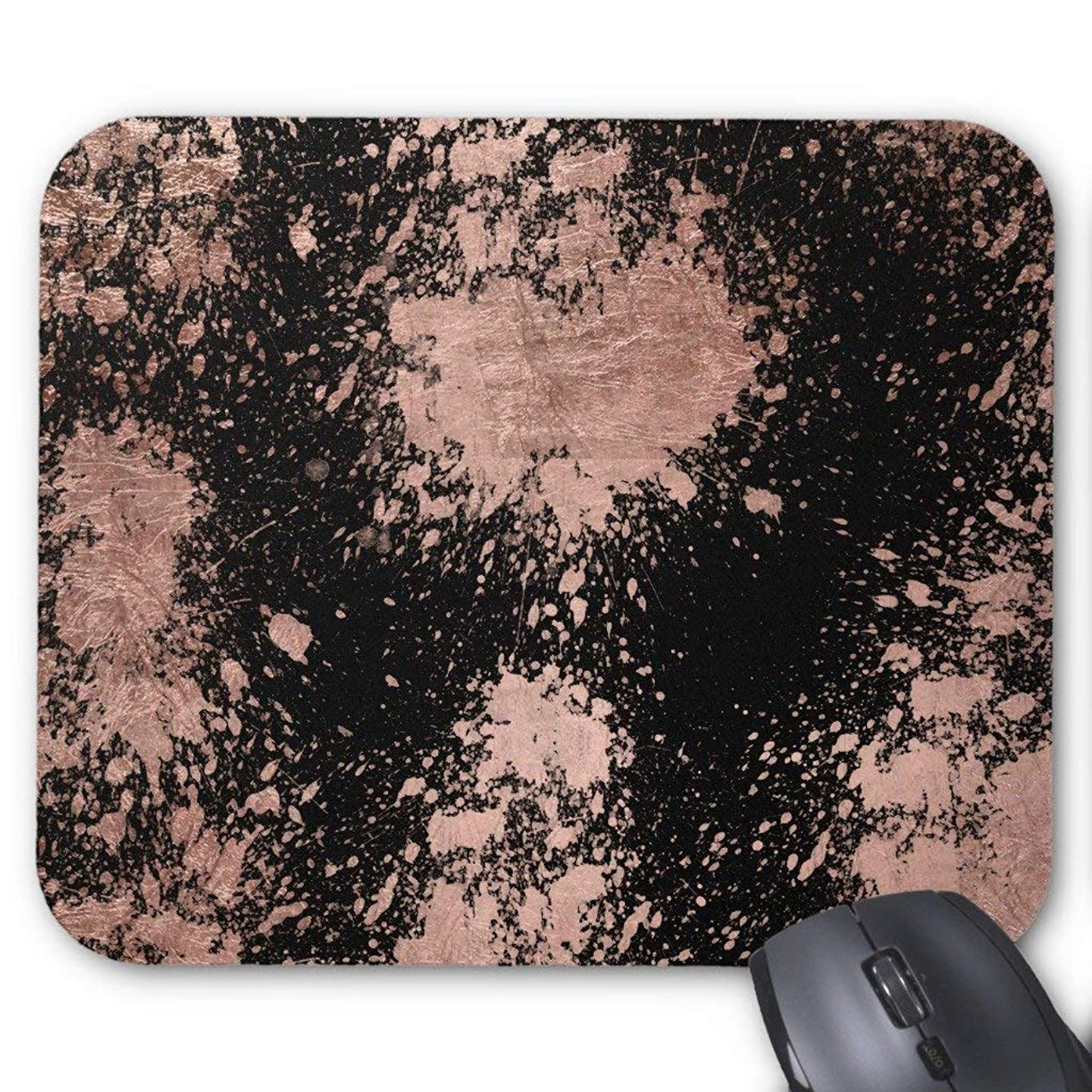 Modern Faux Rose Gold Foil Bstrokes Black Mouse Pad 7.08X8.66 inches/18X22 cm,Non-Toxic Design zrgsueqhbrot