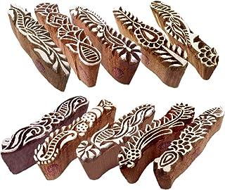 Fabric Wooden Stamps Creative Border Pattern Printing Blocks (Set of 10)